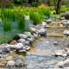 Bassin et ruisseau dans un jardin d'inspiration orientale
